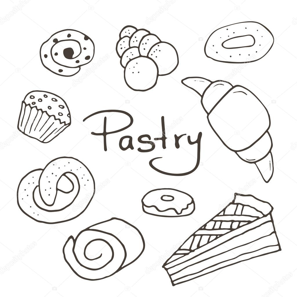 1024x1024 Hand Drawn Sweet Pastry Set. Bakery Vector Elements Sketch