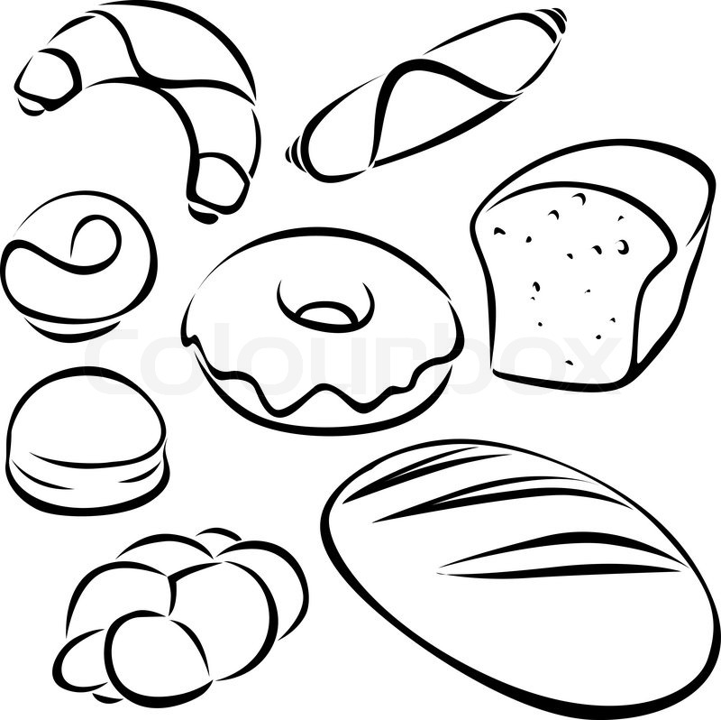 800x798 Pastry Black Outline Stock Vector Colourbox
