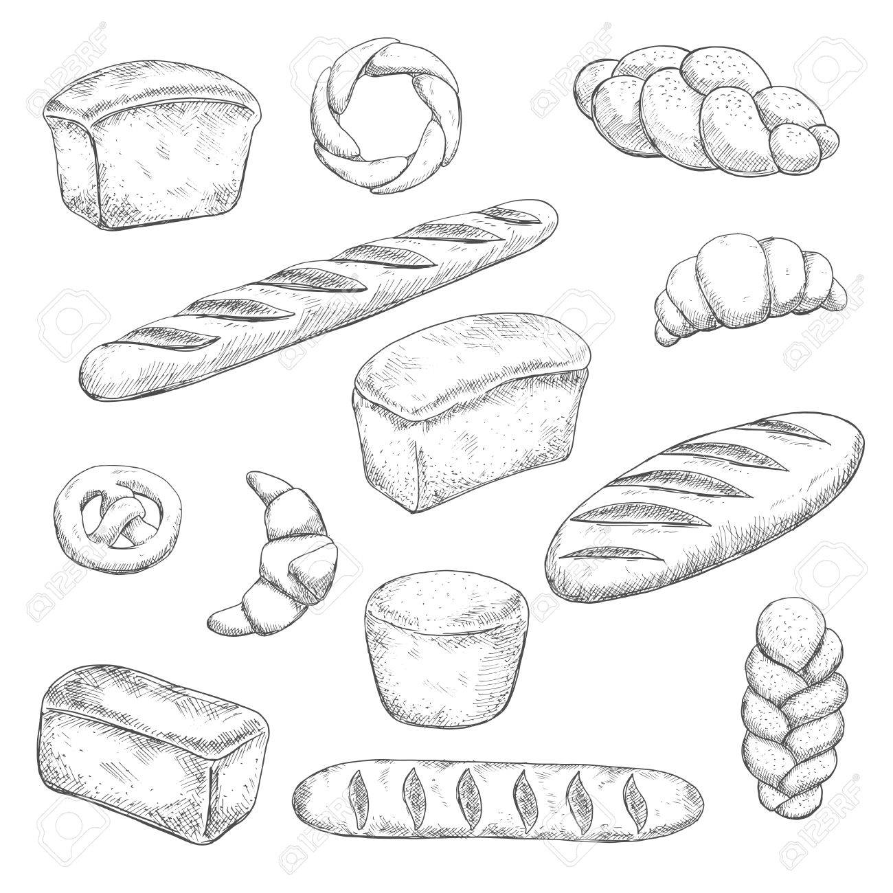 1300x1300 Retro Bakery And Pastry Sketches With Engraving Stylized Fragrant