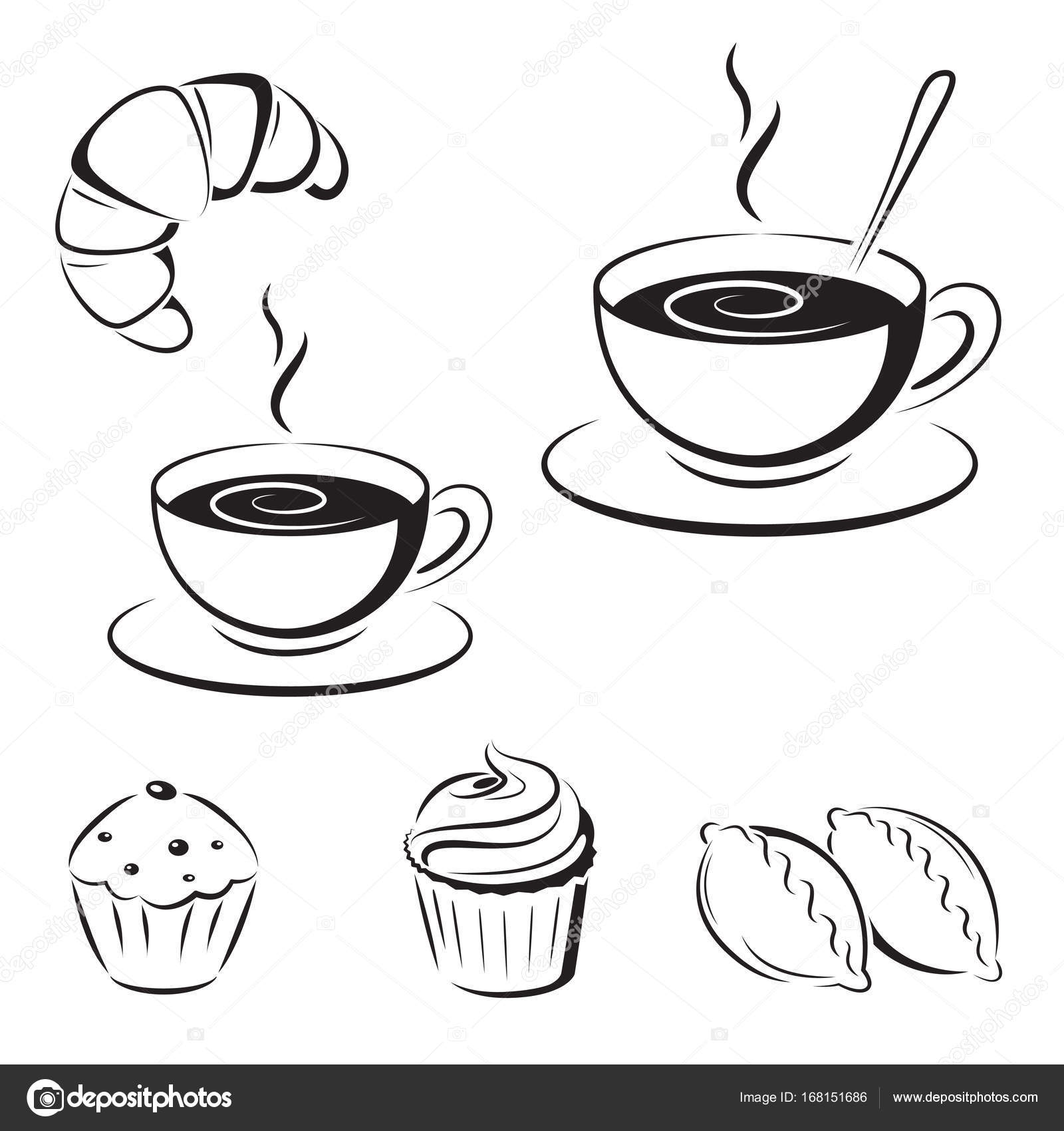 1600x1700 Set Of Black Sketches, Icons. A Cup Of Coffee And Pastry