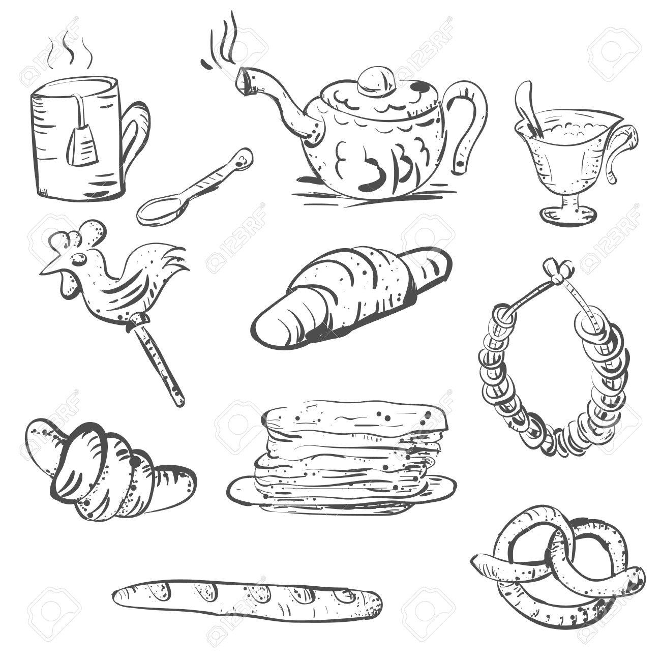 1300x1300 Vector Sketch Of Tea Set And Pastry And Sweets Royalty Free