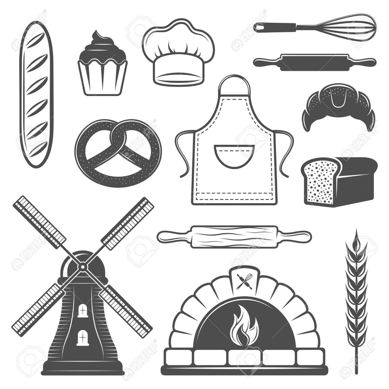 1299x1300 Bakery Monochrome Elements Set With Bread And Pastry Oven Culinary