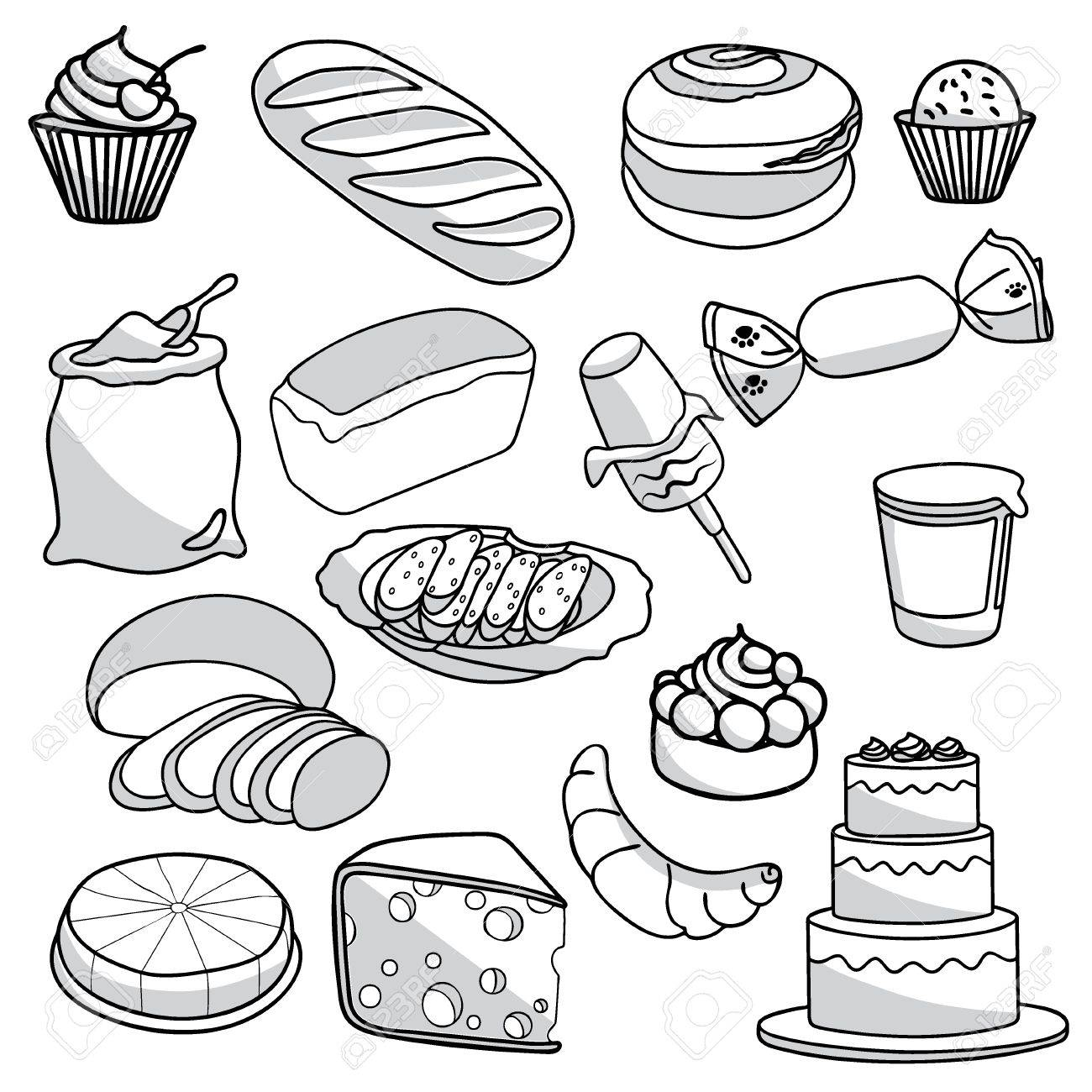 1300x1300 Bakery And Pastry Products Icons Set With Various Sorts Of Bread