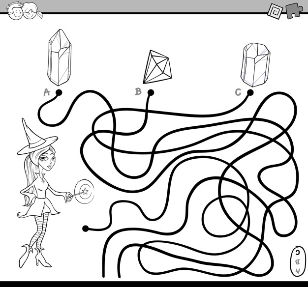626x584 Path Maze Task Coloring Page Vector Premium Download