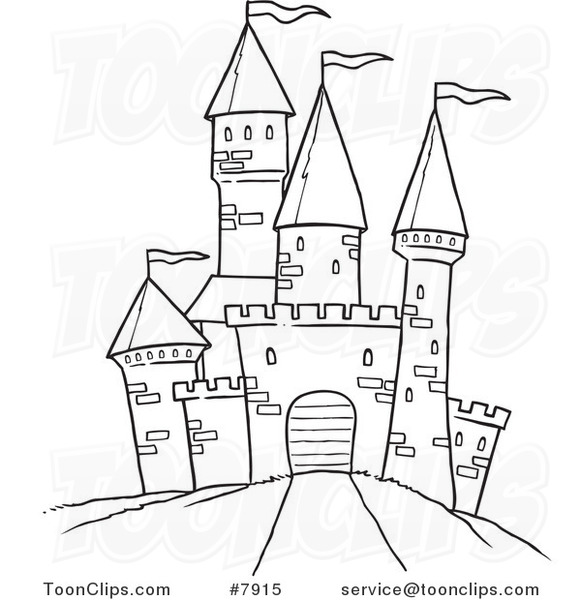 581x600 Cartoon Black And White Line Drawing Of A Path Leading To A Castle