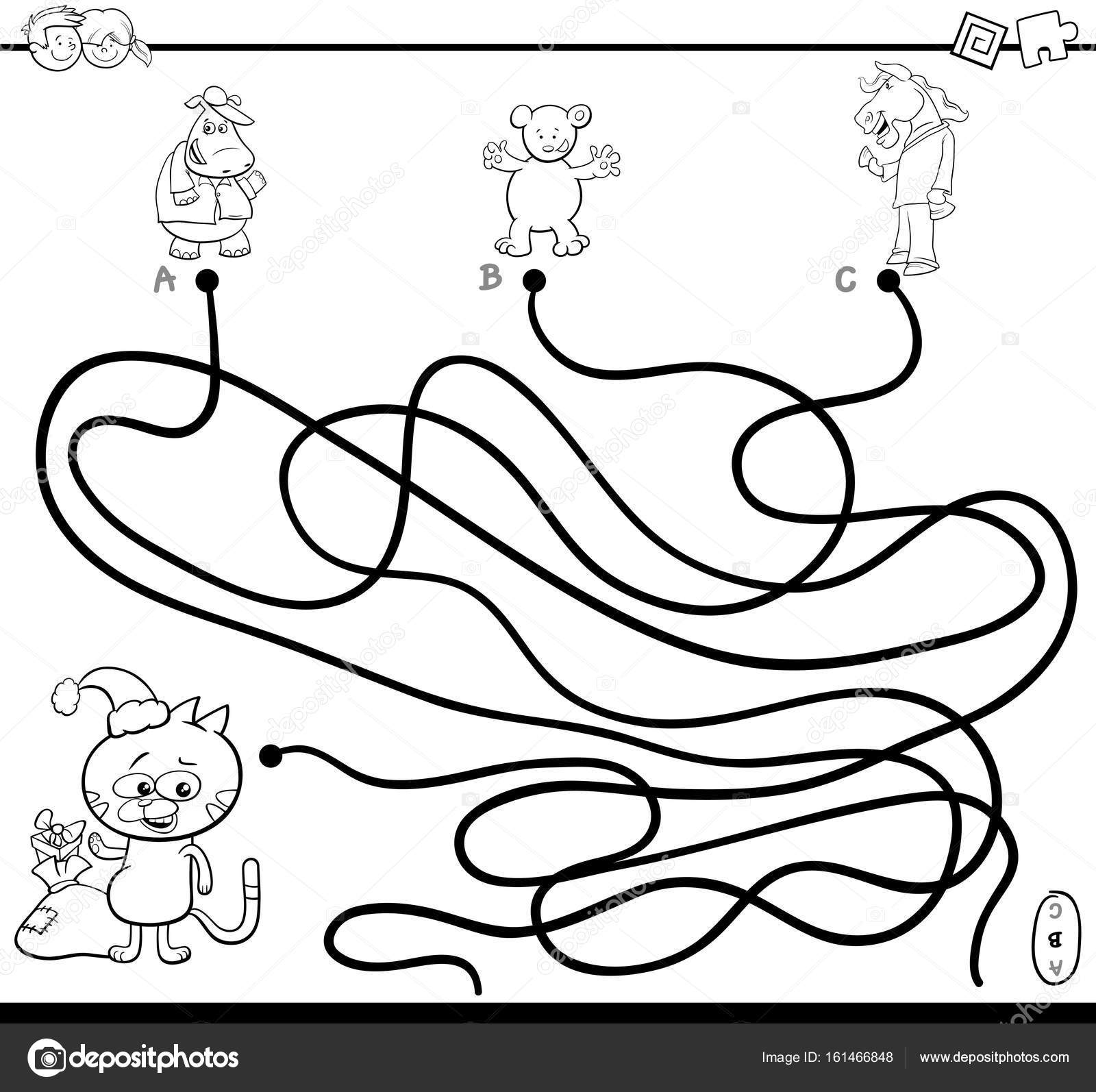 1600x1594 Path Maze Game Coloring Page Stock Vector Izakowski