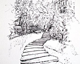 340x270 Riverwalk Drawing Etsy