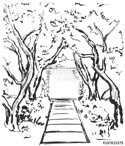 429x500 Road Graphic Black White Landscape Sketch Illustration Vector