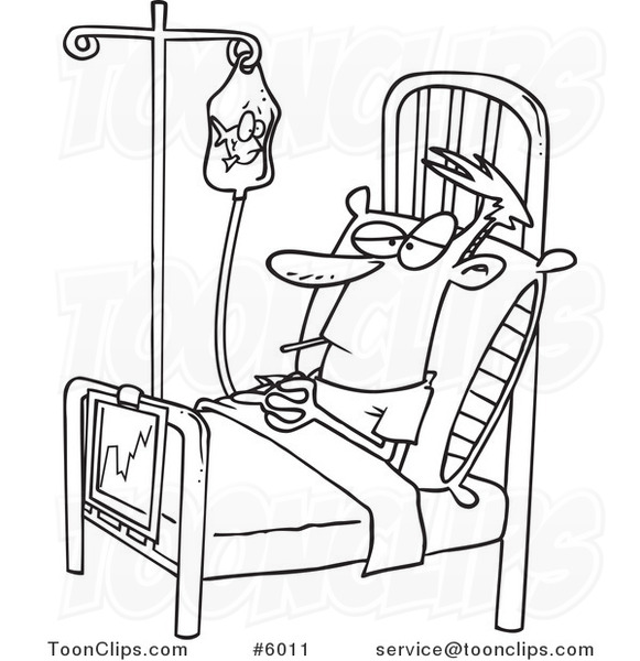 581x600 Cartoon Black And White Line Drawing Of A Medical Patient Watching