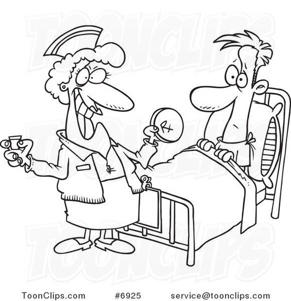 581x600 Cartoon Black And White Line Drawing Of A Nurse Giving A Patient
