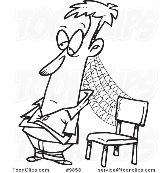 581x600 Cartoon Black And White Line Drawing Of A Patient Guy With Cobwebs
