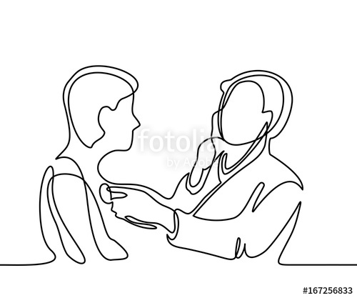 500x417 Doctor With Stethoscope Treat Patient Man. Continuous Line Drawing