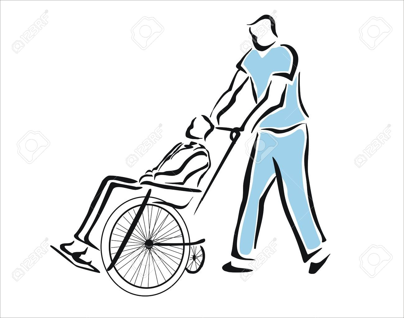 1300x1024 Nurse Taking A Patient In A Wheelchair Royalty Free Cliparts
