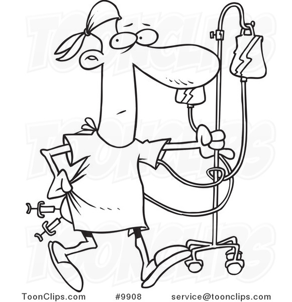 581x600 Cartoon Black And White Line Drawing Of A Hospital Patient