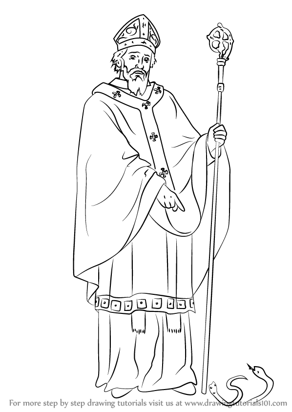 598x844 Learn How To Draw Saint Patrick (Christianity) Step By Step