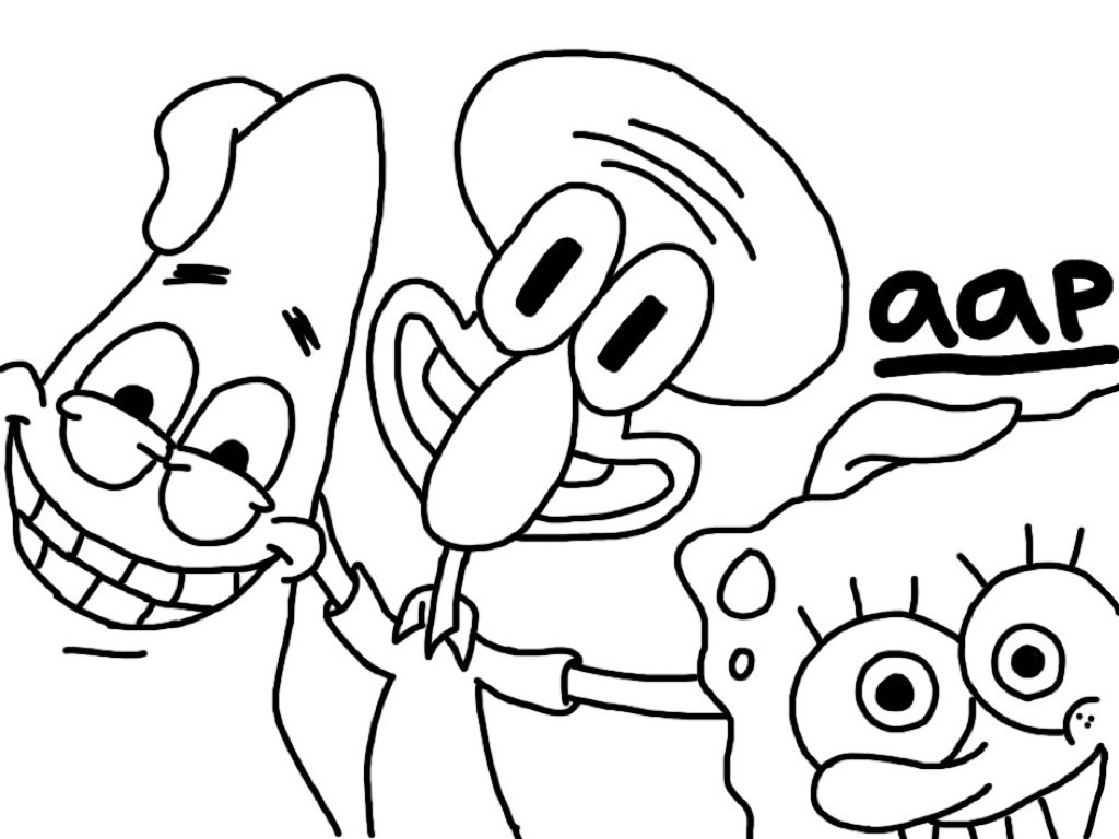 1024x768 Spongebob And Patrick Drawing Spongebob Patrick And Squidward