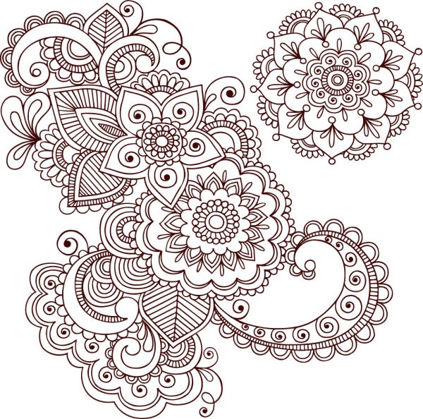 600x594 Hand Drawn Pattern Vector Material My Free Photoshop World