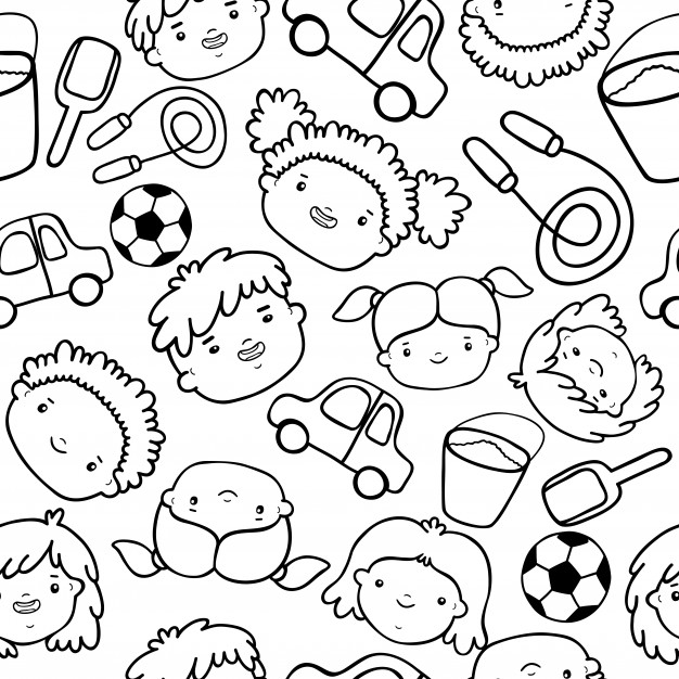 626x626 Doodle Kids Faces Pattern Vector Free Download