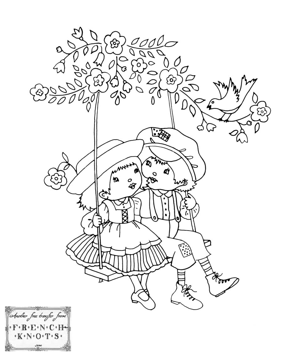 900x1141 Kids On A Swing Embroidery Transfer Pattern