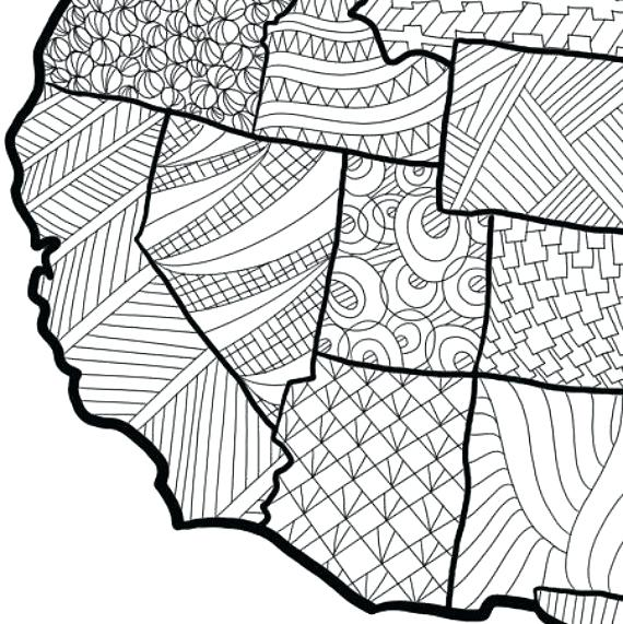 570x571 Map Coloring Page Wall Art Adult Sheets Kids Pattern Instant