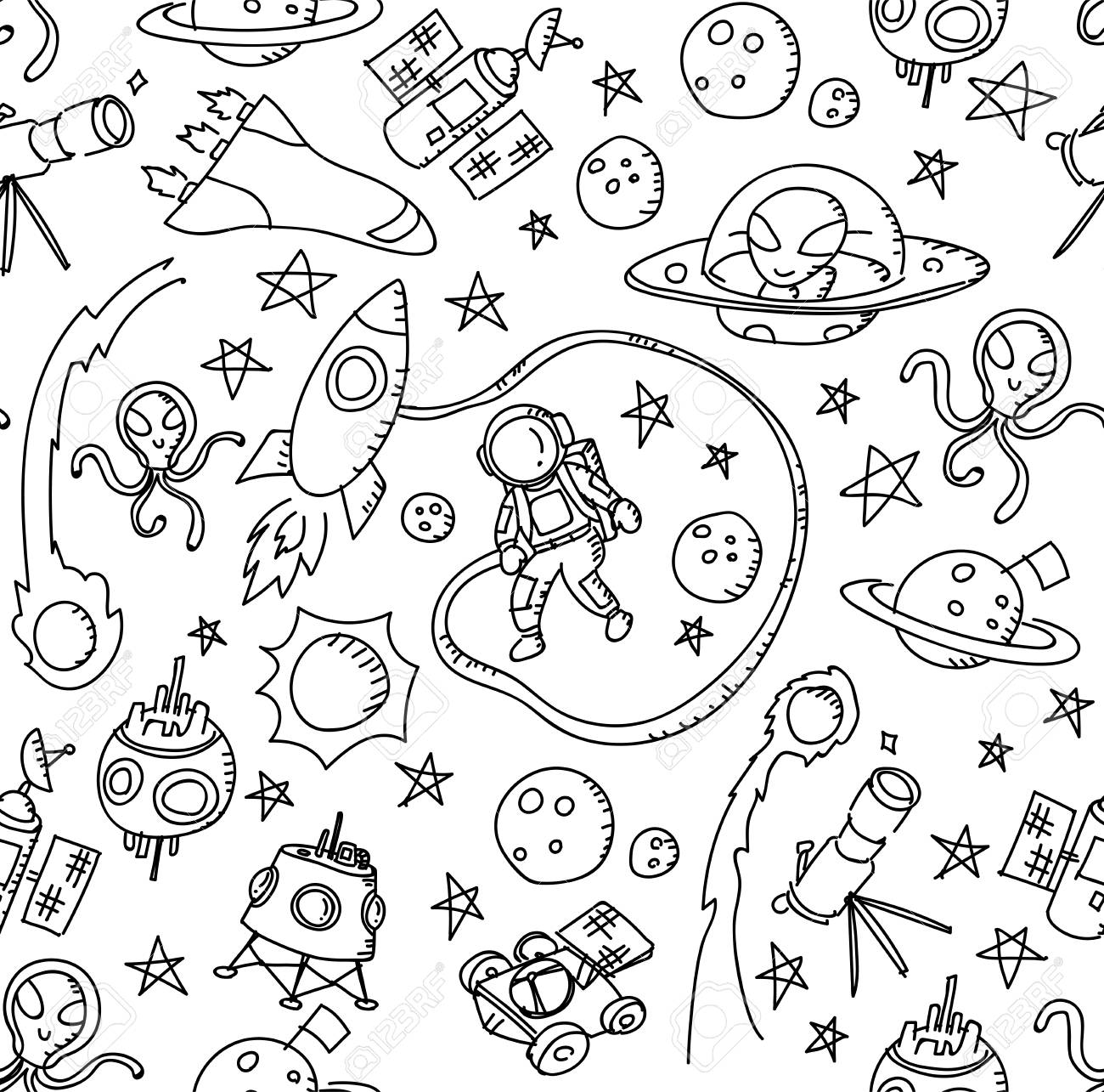 1300x1285 Seamless Pattern Background Astronaut In Space Kids Hand Drawing