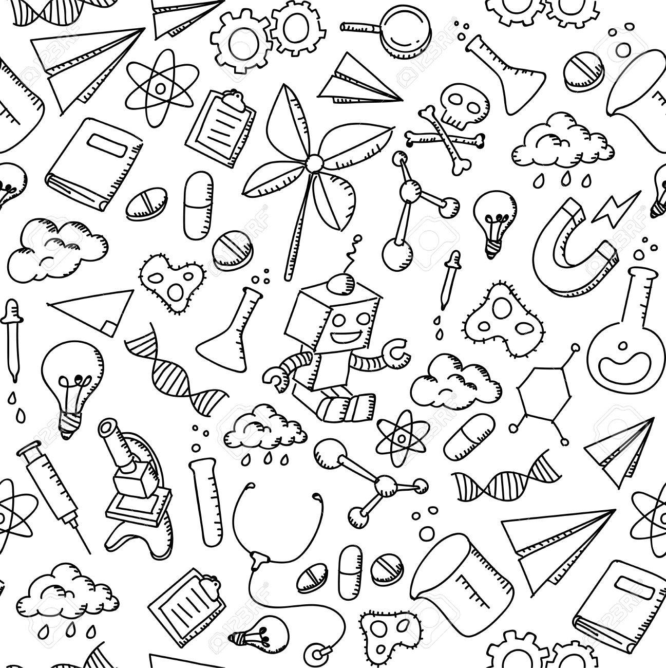 1297x1300 Seamless Pattern Background Science Equipment Kids Hand Drawing