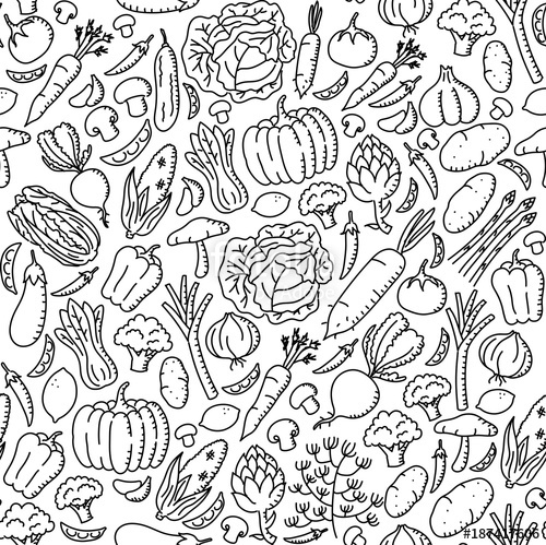 500x499 Vegetable Pattern Background Stationary Kids Hand Drawing Set