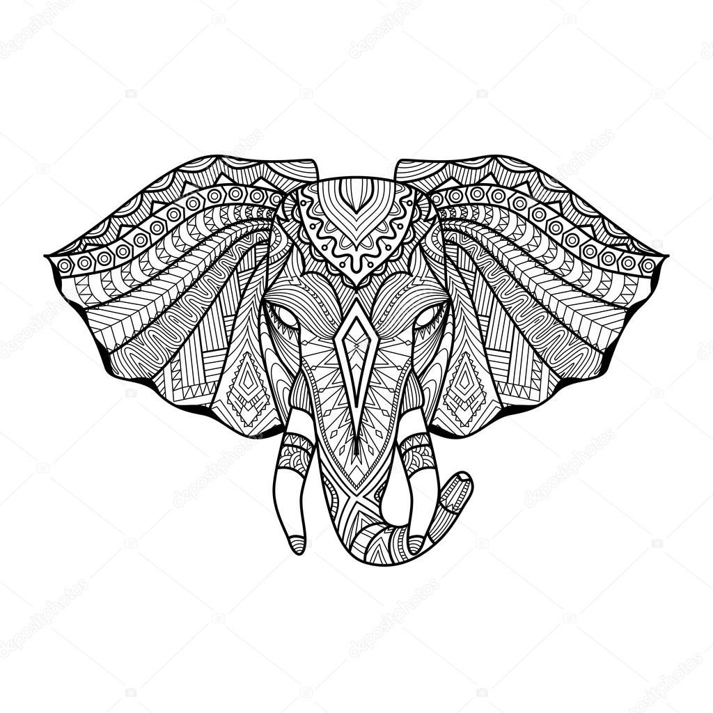 1024x1024 Drawing Unique Ethnic Elephant Head For Print, Pattern,logo,icon