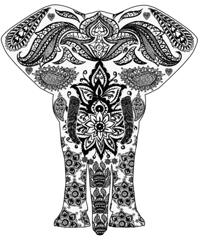 400x480 Elephant Zentangle Coloring Page Free Printable Coloring Pages