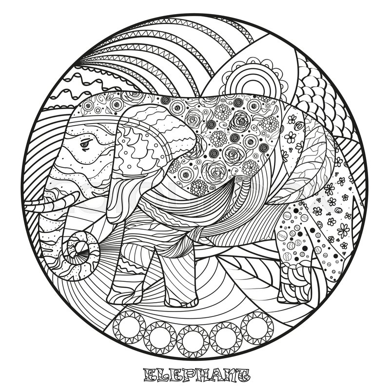 800x800 Elephant. Zen Art. Detailed Hand Drawn Mandala With Abstract