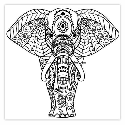 500x500 Front Elephant Mandala Thread Hand Work Pattern Indian Style Wall