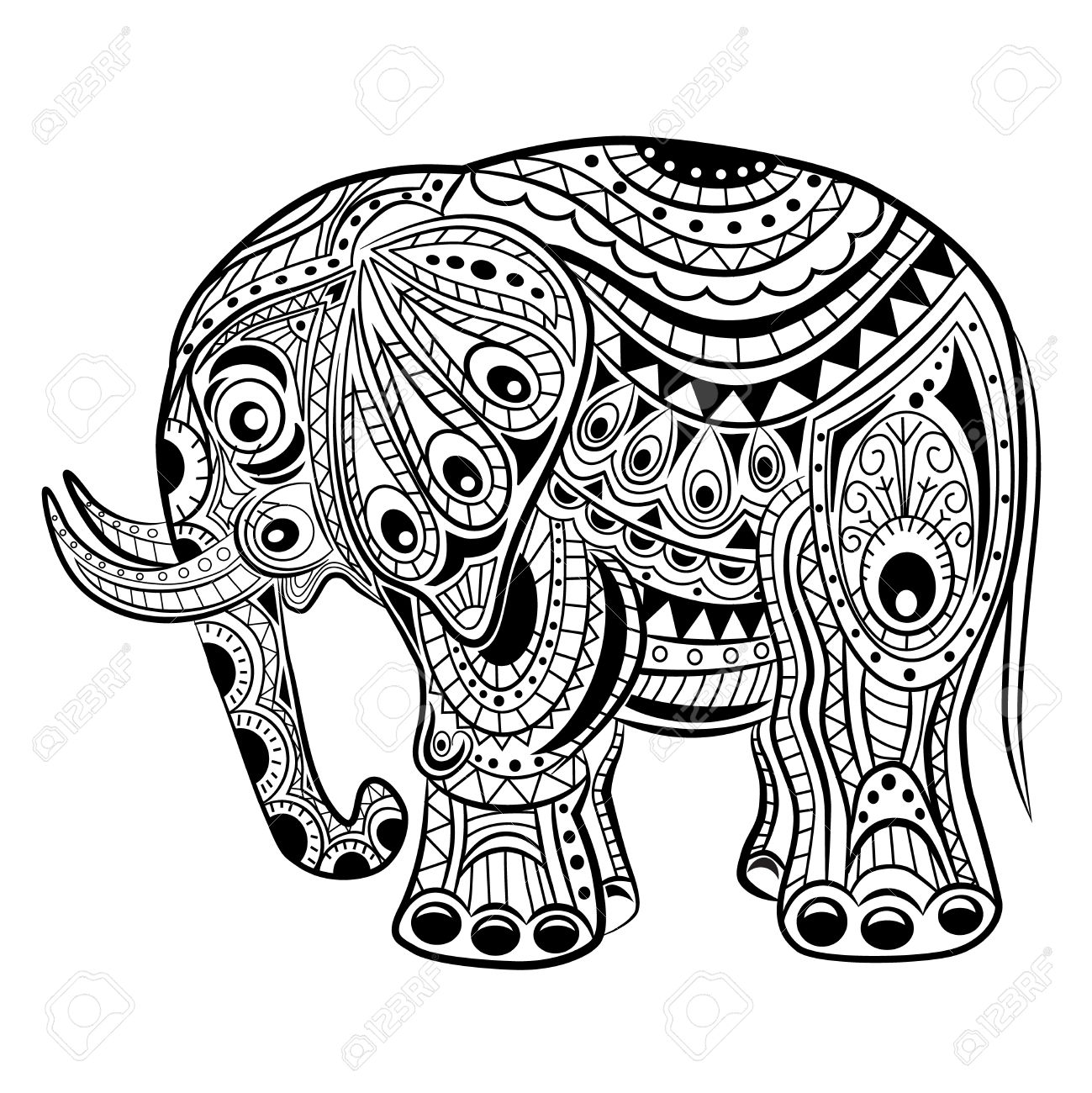 1299x1300 Hand Drawn Ink Zentangle Elephant For Relax And Meditation. Vector