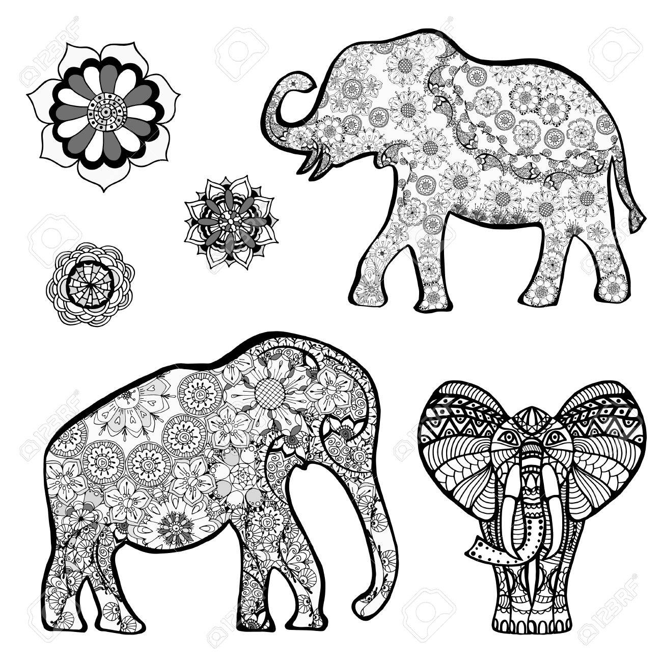 1300x1300 Set Of Vector Drawing Of A Elephant With Ethnic Patterns Of India