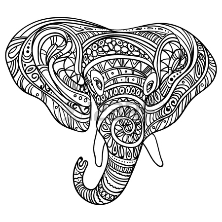 450x450 Stylized Head Of An Elephant. Ornamental Portrait Of An Elephant