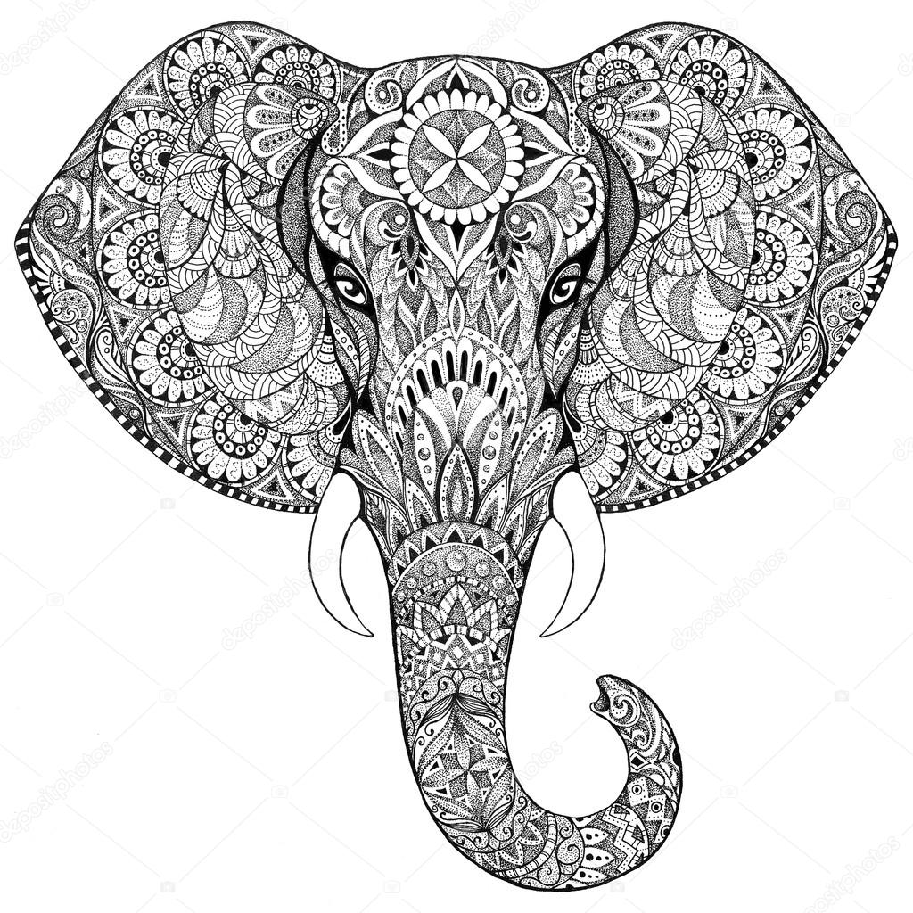 1024x1024 Tattoo Elephant With Patterns And Ornaments Stock Photo Vensk