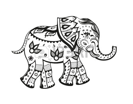 450x353 The Stylized Figure Of An Elephant In The Festive Patterns Stock