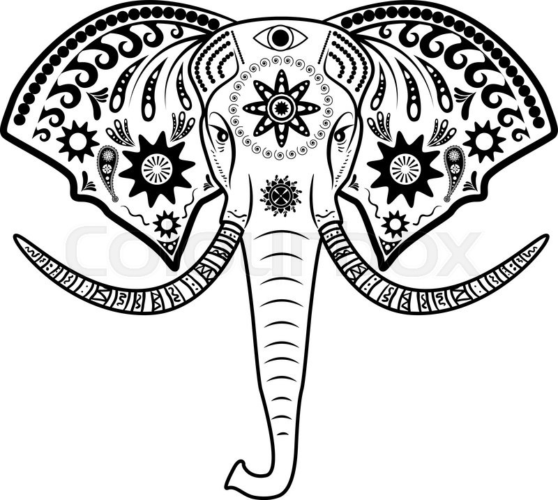 800x717 Vector Illustration Of Elephant Head.tattoo Elephant With Patterns
