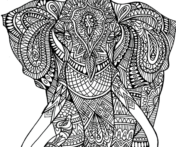 600x500 Adult Coloring Pages Elephant Patterns Printable