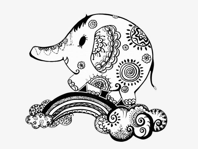 650x489 Hand Painted Elephant, Elephant, Hand Painted, Pattern Png Image