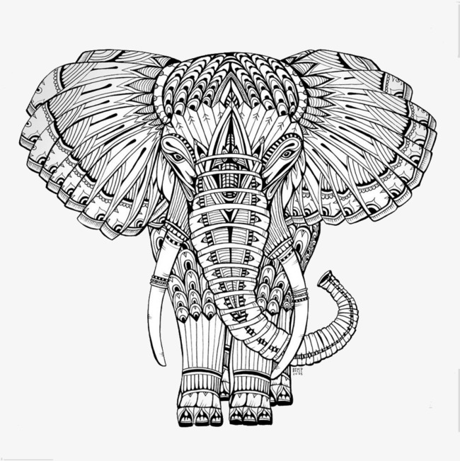650x651 Black And White Pattern Stitching Elephant, Black And White