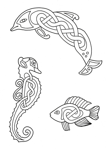 343x480 Celtic Animals Designs 3 Coloring Page Free Printable Coloring Pages