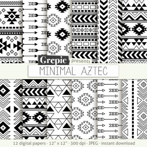 500x500 Aztec Digital Paper Aztec Daily Pretty