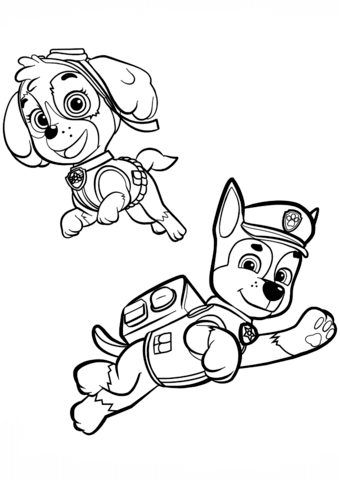 340x480 Chase And Skye Coloring Page Free Printable Pages