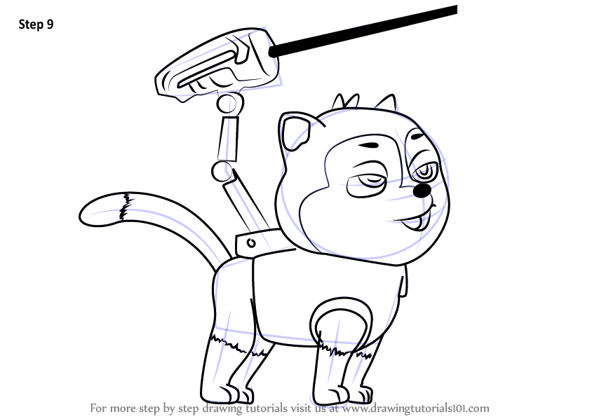 844x598 Learn How To Draw Cat Chase From Paw Patrol (Paw Patrol) Step By
