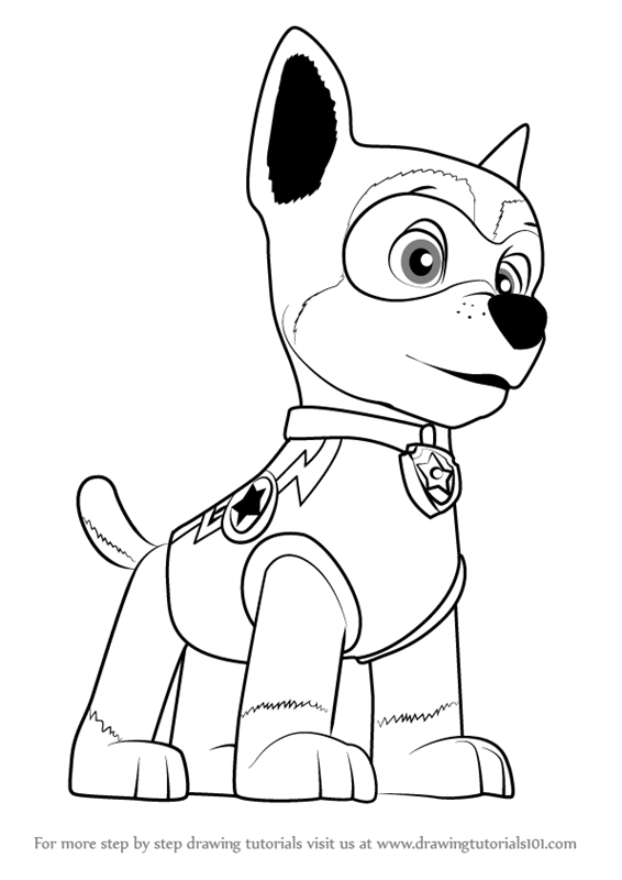 566x800 Learn How To Draw Super Chase From Paw Patrol (Paw Patrol) Step By
