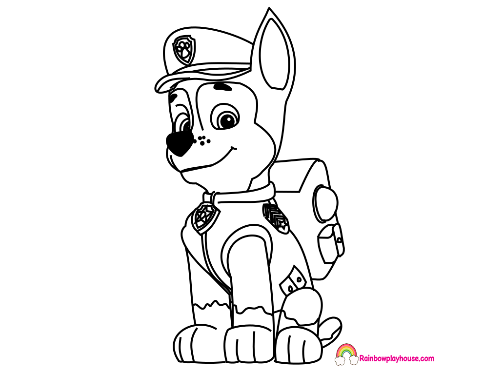 Paw patrol chase drawing design templates for Chase coloring page