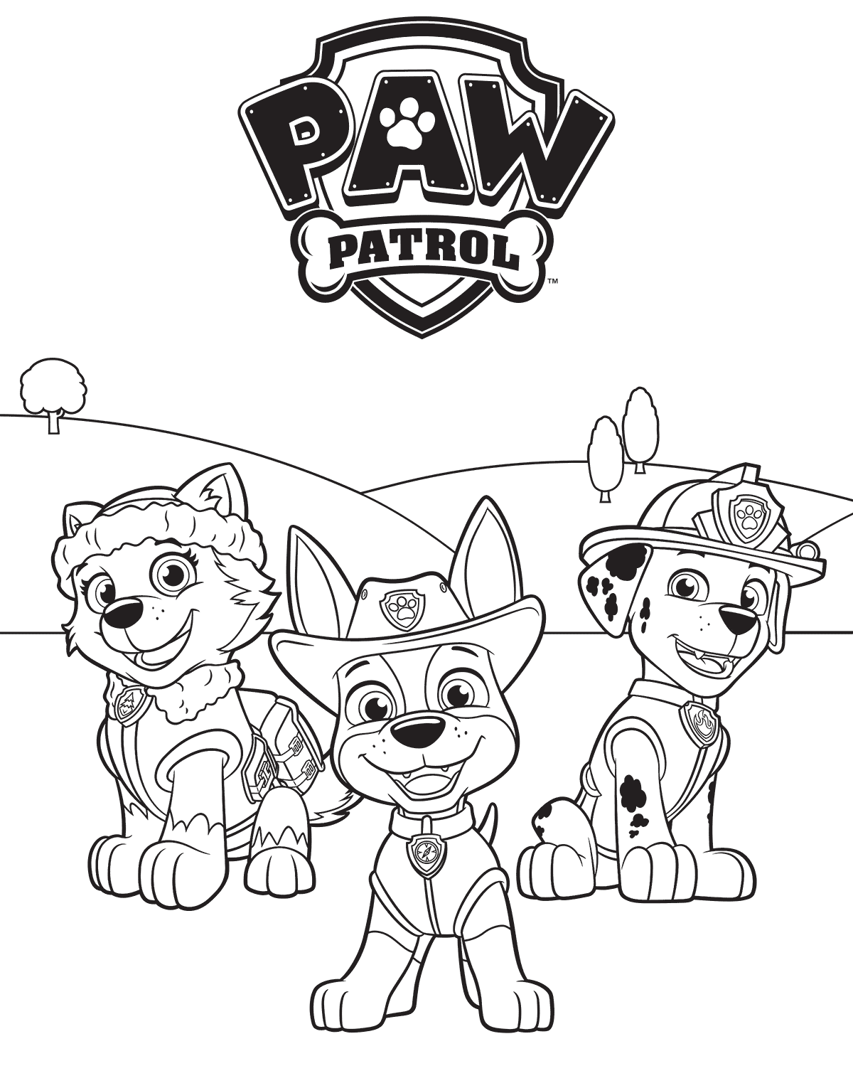 1200x1530 Everest Tracker And Marshall PAW Patrol Coloring Page