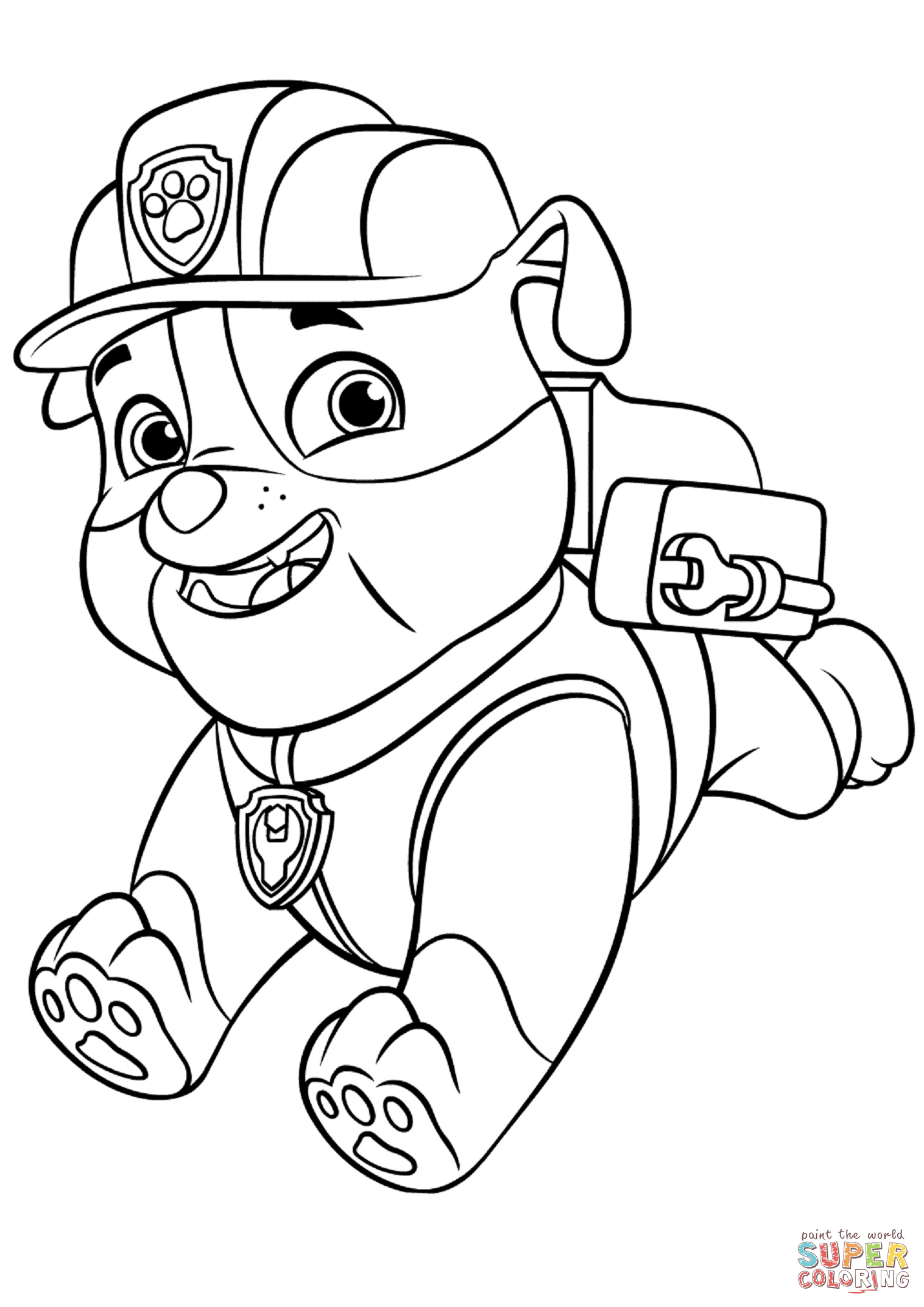 1517x2146 Paw Patrol Rubble With Backpack Super Coloring Colouring