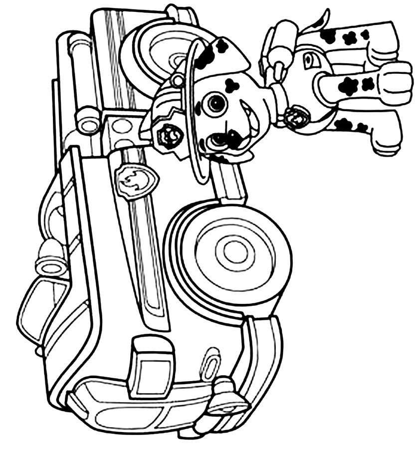 838x900 Paw Patrol Coloring Pages Marshall Fire Truck