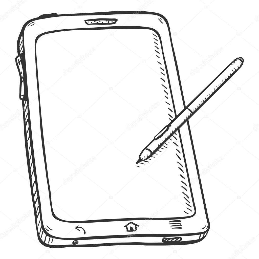 1024x1024 Tablet Pc With Stilus Pen Stock Vector Nikiteev